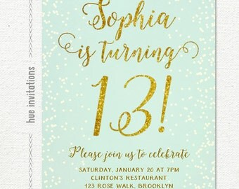 birthday party invitations teen girl mint and gold, turquoise gold glitter printable 13th birthday party invitation, chic digital invite 255