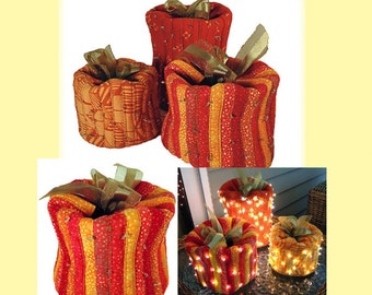 Festive Pumpkins Pattern by Aunties Two Patterns; AT277; Fall / Autumn Decor; Fabric Pumpkin Pattern - 3 sizes; Quilting, Sewing