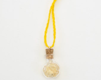 Macrame citrine glass vial necklace