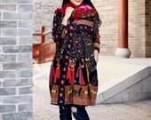 Cotton Blouse Casual loose dress Linen long blouse Plus size cardigan Autumn coat Large size dress plus size clothing Women Dresses