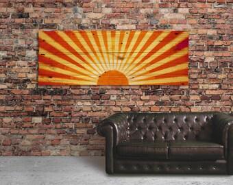 "Extra Large Rustic Wood Sunset Wall Art - 49"" x 18"" Home Decor Wall Hanging - Sunburst"