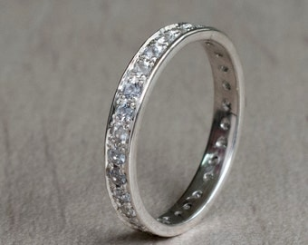Dazzling White Sapphire Eternity ring in White Gold - Suitable for Engagment - pave style - anniversary gift - Bridal