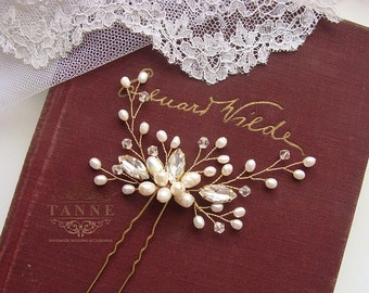 Pearl Bridal Hair Piece, Wedding Hair Pins, Pearl Hair Vines, Wedding Hair Accessory, Ivory Gold Pearl Hair Pin, Woodland Hair, Crystal Pins