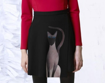For cat person Collection black cat irregular designed skirt