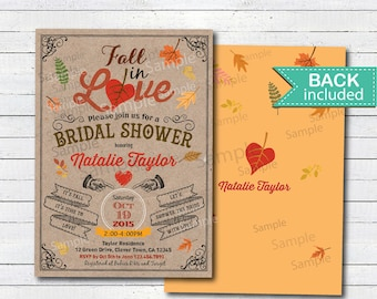 fall bridal shower invitation rustic fall in love bridal shower party autumn