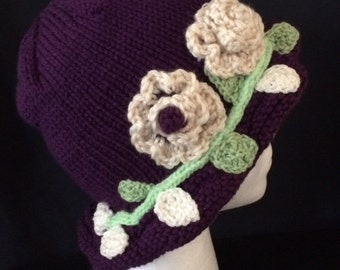 Purple knitted cloche