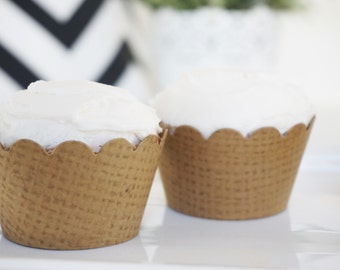 BURLAP Cupcake Wrappers - Set of 100