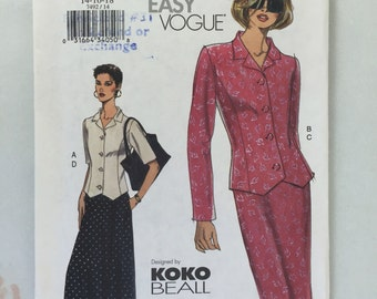 Vogue 1492 Very Easy Koko Beall Misses'/Misses' Petite Top and Skirt Pattern size 14,16,18 uncut