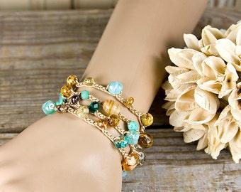 Bohemian wrap bracelet, colorful beads, crochet wrap, wrap bracelet, multi wrap, beachy crochet wrap, trendy bracelet, surfer chic, beachy