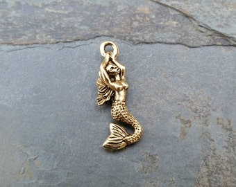 Mermaid Charm Arms Raised Gold Pewter C-109,mermaid charm,gold beach charm,gold ocean charm,sea life charm,boho mermaid charm,bracelet charm