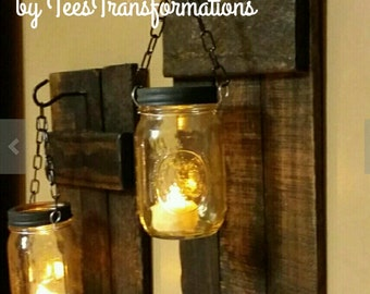 Rustic  Candle Holder, Rustic  Decor,  sconces, Hanging candles, Mason Jar Decor, Mason Jar wood candle,   On Sale 40.00 for a set