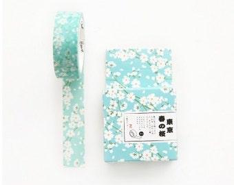 Sakura Tape,Cherry Blossom, Washi Masking Tape, Light Blue Tape,Craft Supply,Sticker Tape