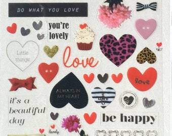 Sonia Love Heart sticker, love sticker,valentine stciker,craft supply,scrapbook supply,diary sticker,colorful sticker