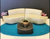 3/4 Dollhouse Outward Swirl Sectional Sofa Mid-Century Modern Repurposed