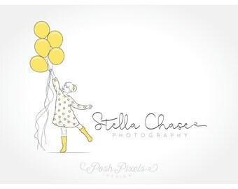 Logo Design (Premade) Balloon logo, Cute logo, Child logo, Rainboots logo, Boutique logo, Photography logo, Business logo, Whimsical logo