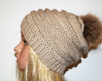 SALE...Light Brown Hat, Alpaca Wool Hat, Winter  Cap,Womans Hat , Natural Fur Pompon,Hat Fur Pom Pom,Hand Knitted Hat,Handmade Cap