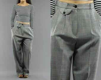 High Waist Glen Plaid Baggy Trousers / Pants  By Norton McNaughton  Size 10 Womens 90's Vintage