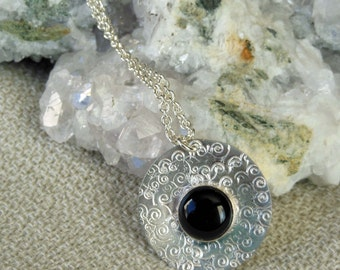 Sterling Silver Black Onyx Round Pendant
