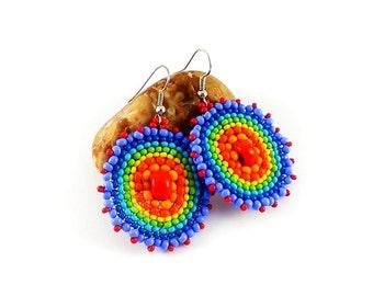 Rainbow earrings Hoop earrings Beaded earrings Colorful earrings Round earrings Circle earrings Hippie earrings Rainbow jewelry seed bead