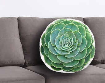 Succulent Printed Pillow - Succulent Lover Gift, Succulent Print, Linen Cushion, Plant Home Decor