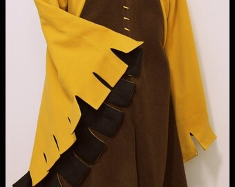 SALE! Houppelande 'a grande assiette' Yellow and Brown Wool with Linen Lining (was 240, now 150!)
