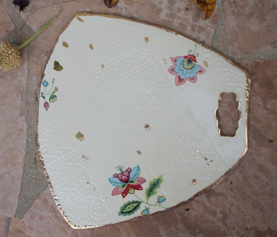 Handmade Ceramic Platter In Coastal Kitchen