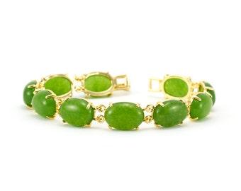 Gold Jade Link Bracelet/ Green Jade Bracelet/ Jade Beaded Bracelet/ Gold Jade Jewelry