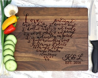 Heart Cutting Board, Wedding Gift, Personalized Cutting Board, Corinthians, Gift Idea For Couple, Wedding Shower Gifts