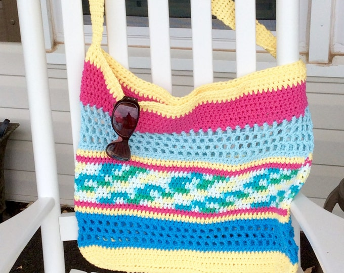 Colorful Crochet Cotton Beach Bag with Long Shoulder or Cross Body Strap