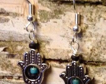 Yoga hand pewter  earrings