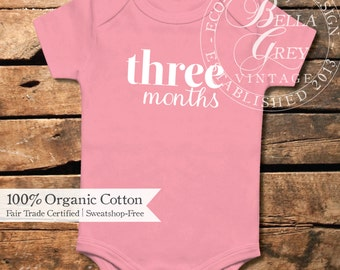 Three Months Old - Custom Month Organic Cotton Baby Bodysuit - One Piece Romper Creeper - Baby Girl Monthly Photo Onesie