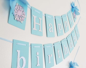 Frozen birthday party decorations. Winter wonderland banner. Winter onederland banner. Winter birthday banner.