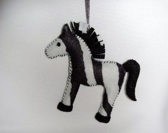 Zebra Felt Animal Ornament Handmade Baby Zebra (1 ornament)
