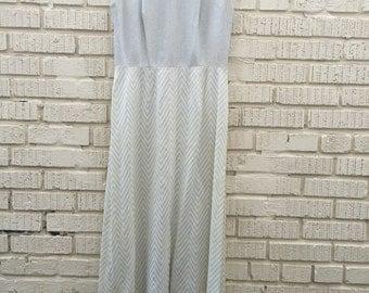 60s 70s Silver Maxi Dress and Matching Jacket. 1960s 1970s Empire Waist Long Dress. Long Sleeve Blouse. Medium.