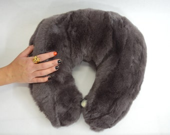 Real fur travel pillow, cervical support neck pillow, ergonomic pillow, airplane travel pillow, car pillow hide, side fur pillow, real fur.