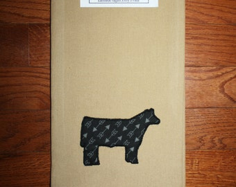 show cattle kitchen towel ~ cattle with arrows~ show steer decor ~ applique show steer