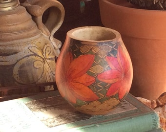 Floral painted gourd, tropical gourd, gourd cup, tropical decor