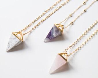 Kristall Halskette Pyramide Halskette Amethyst Halskette Opalit Halskette Onyx Halskette Tribal Sommertrend Geschenk für ihre EXPRESS-VERSAND