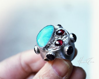 ART NOUVEAU Silver Ring with Turquoise and Garnets -Size 7 US-Turquoise Kingman and Red Garnet statement sterling silver- Unique silver ring