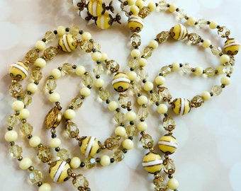 Art Deco Necklace and Bracelet - 1920s Wedding Jewelry - Downton Abbey Beaded Jewelry - Vintage Gift For Her - Flapper Necklace - OOAK