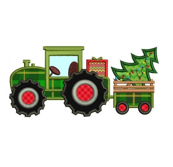 Embroidery Of Tractors : Tractor christmas tree applique machine embroidery digitized