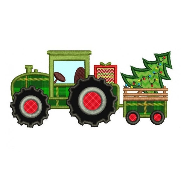Tractor christmas tree applique machine embroidery digitized
