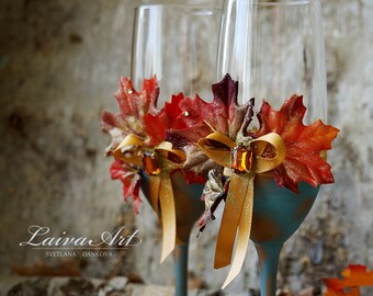 Fall Wedding Champagne Flutes Fall Wedding Toasting Flutes Fall Wedding Glasses Thanksgiving wedding