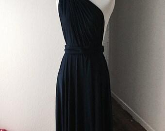Black  Bridesmaid Dress , Infinity Dress,Knee Length Wrap Convertible Dress.Party dress-A19#