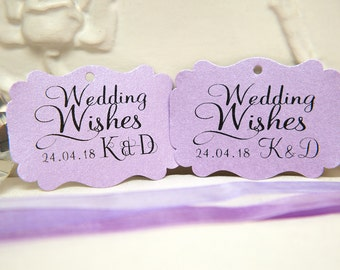 Custom Wishing Tree Tags. Wedding Wishes with Initials and date. Lilac purple Wedding cards. Rectangle printed favour tags. Pearlised card