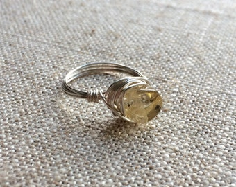 Citrine Silver Wire Wrapped Ring - sized to order - November birthstone
