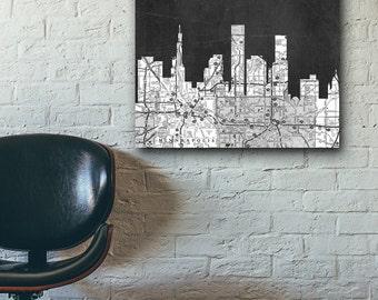 ST. Paul Skyline,Stain Paul skyline, Black and White Art,Black and White skyline, ST. Paul map,Chalkboard art,Modern Home Decor,No855