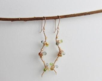 Green Topaz, Peridot, Citrine, Hessonite Garnet and Freshwater Pearl 14K Rose Gold Filled Handmade Earrings