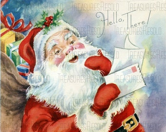 Retro Santa Claus Reading Lertters Christmas Card #457 Digital Download