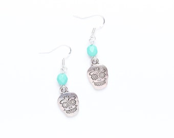 Sugar Skull Earrings | Beaded Skull Earrings | Sugar Skull Jewellery | Sterling Skull Earrings